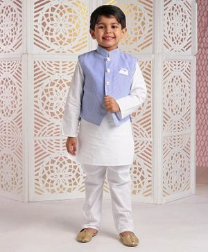 Rikidoos Full Sleeves Kurta With Striped Jacket & Pajama - Light Blue & White