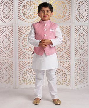 Rikidoos Full Sleeves Kurta With Striped Jacket & Pajama - Red & White