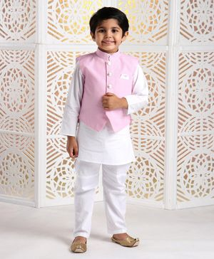 Rikidoos Full Sleeves Kurta With Striped Waistcoat & Pajama - Light Pink & White