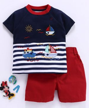 Wonderchild Half Sleeves Ship Patch Detailed Tee With Shorts - Dark Blue & Red