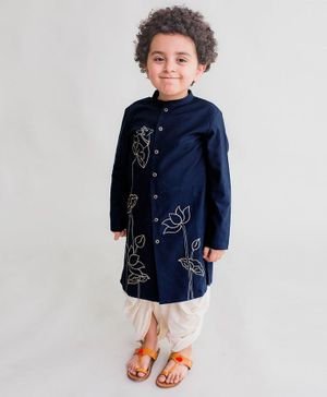 Tiber Taber Cow Embroidered Full Sleeves Kurta & Dhoti Set - Navy Blue