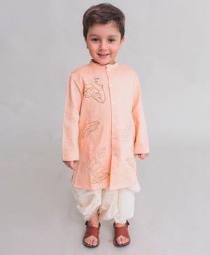 Tiber Taber Cow Embroidered Full Sleeves Kurta & Dhoti Set - Peach