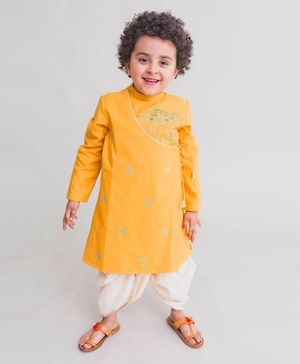 Tiber Taber Krishna Cow Herd Embroidered Full Sleeves Kurta & Dhoti Set - Yellow