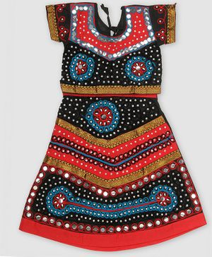 Pikaboo Flower Embroidered Mirror Work Short Sleeves Choli With Lehenga - Black & Red