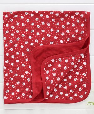 Babyhug Knitted Towel Strawberry Print - Red