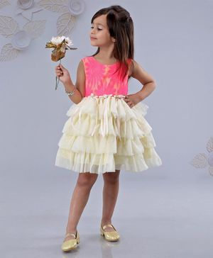 Mark & Mia Sleeveless Party Wear Frock Floral Design - Pink