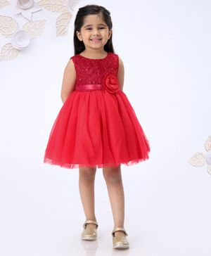 Mark & Mia Cap Sleeves Embroidered Frock With Rose Applique - Red