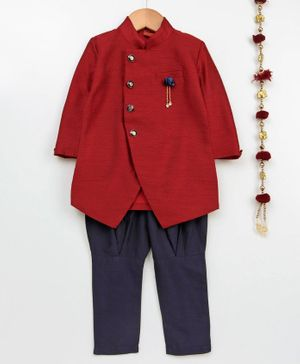 Ethnik's Neu Ron Full Sleeves Sherwani & Pyjama Set  - Maroon Navy Blue