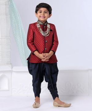 Ethnik's Neu Ron Full Sleeves Sherwani And Dhoti Pants Set Studded Detailing - Maroon Navy Blue