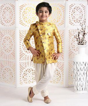 Ethnik's Neu-Ron Full Sleeves Floral Printed Sherwani With Dhoti - Golden White