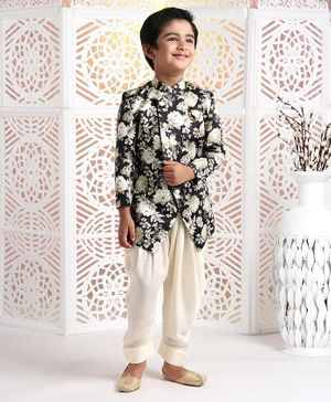 Ethnik's Neu-Ron Full Sleeves Floral Printed Sherwani With Dhoti - Black White