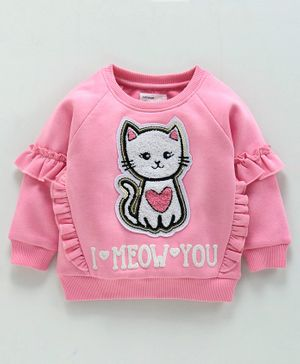 Babyoye Full Sleeves Sweatshirt Kitty Patch - Pink