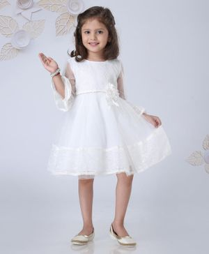 Mark & Mia Three Fourth Sleeves Solid Color Frock - White