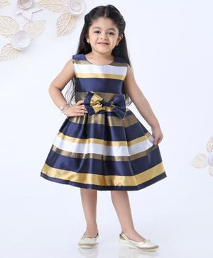 Mark & Mia Sleeveless Striped Frock With Bow Applique - Navy Blue