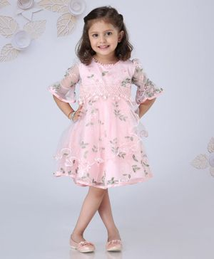 Mark & Mia 3/4th Sleeves Embroidered Frock Pearl Embellished - Light Pink