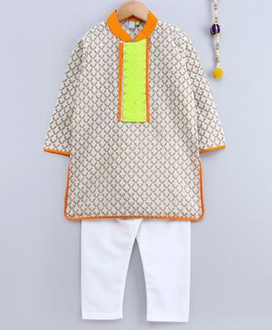 Frangipani Kids Lace Patch At Neckline Full Sleeves Kurta With Pajama - Orange Beige & White