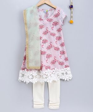 Frangipani Kids Flamingo Print Short Sleeves Kurti With Churidhar & Dupatta - Light Pink