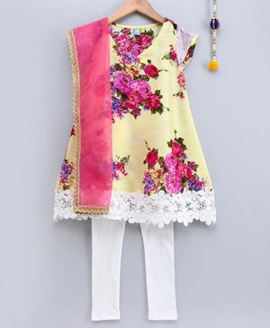 Frangipani Kids Flower Print Short Sleeves Kurti With Churidhar & Dupatta - Light Yellow