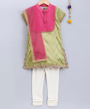 Frangipani Kids Printed Half Sleeves Kurti With Dupatta & Churidhar - Green