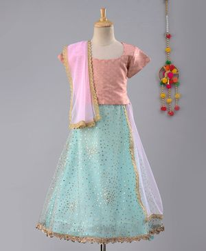 Frangipani Kids Gold Moroccan Print Half Sleeves Choli With Dupatta & Lehenga - Pink & Blue