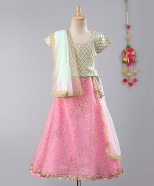 Frangipani Kids Gold Moroccan Print Half Sleeves Choli With Dupatta & Lehenga - Green & Pink