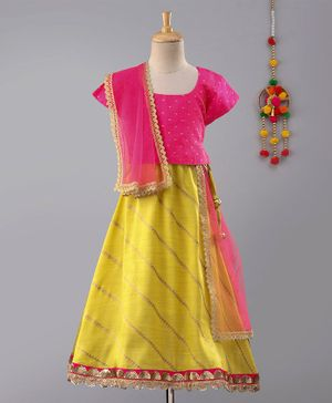 Frangipani Kids Gold Print Dots Half Sleeves Choli With Dupatta & Lehenga - Pink & Yellow