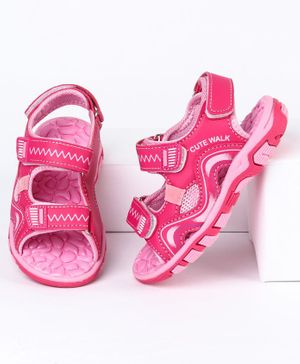 Cute Walk by Babyhug Sandals With Triple Velcro Closure - Pink