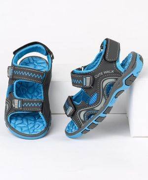 Cute Walk by Babyhug Sandals With Triple Velcro Closure - Black Blue