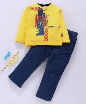 Birthday BOY Full Sleeves Tee & Jeans Set Text Print - Yellow Blue