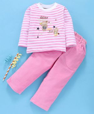 Birthday BOY Full Sleeves Tee & Bottoms Set Bear Patch - Pink