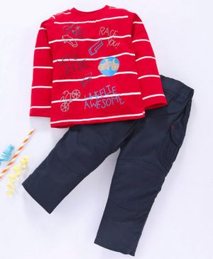 Birthday BOY Full Sleeves Striped T-Shirt & Solid Pant Bicycle Print - Red Navy Blue
