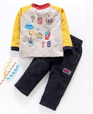 Birthday BOY Full Sleeves Printed T-Shirt & Solid Pant - Yellow Navy