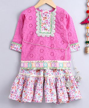 Little Bansi Schiffli Three Fourth Sleeves Kurta With Ditsy Floral Print Sharara - Pink