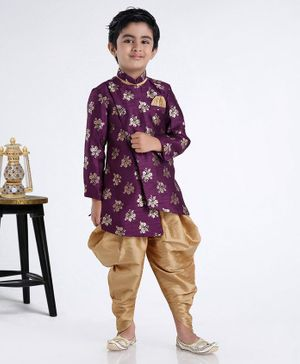 Babyhug Full Sleeves Kurta & Peshawari Set Floral Print - Purple
