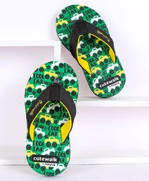 Cute Walk by Babyhug Flip Flops Car Print - Green