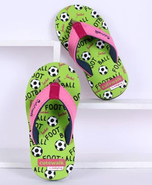 Cute Walk by Babyhug Flip Flops Football Print - Green