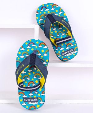 Cute Walk by Babyhug Flip Flops With Backstrap Rainbow Print - Blue