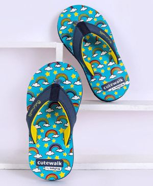 Cute Walk by Babyhug Flip Flops Rainbow Print - Blue