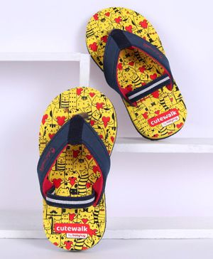 Cute Walk by Babyhug Flip Flops With Back Strap Kitty Print - Yellow & Navy