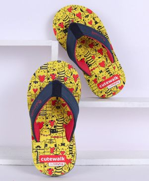Cute Walk by Babyhug Flip Flops Kitty Print - Yellow