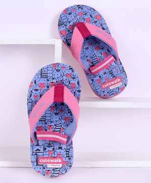 Cute Walk by Babyhug Flip Flops With Back Strap Kitty Print - Pink Purple
