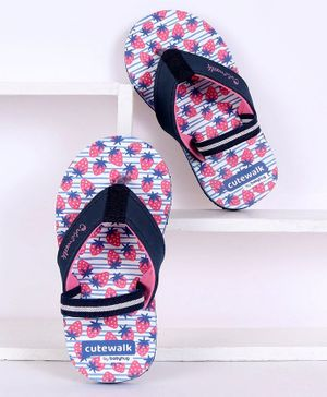 Cute Walk by Babyhug Flip Flops With Backstrap Strawberry Print - Pink Navy Blue
