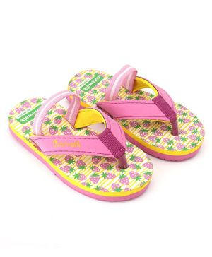 Cute Walk by Babyhug Flip Flops With Backstrap Strawberry Print - Pink Yellow