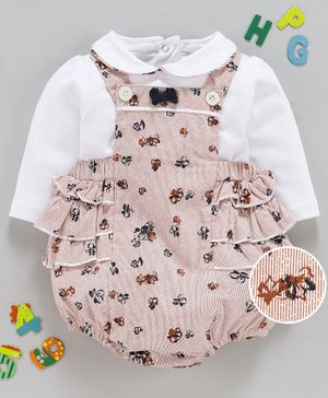 Wow Clothes Striped Onesie With Full Sleeves Tee Floral Print - Peach