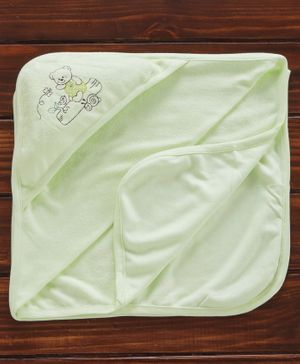 Zero Hooded Towel Wrapper Teddy Embroidered - Light Green