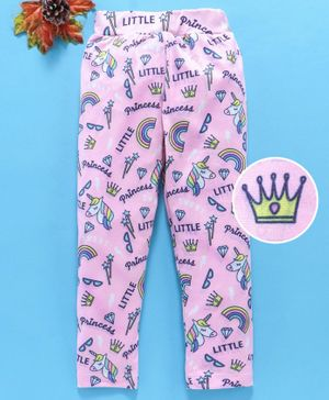 Birthday Girl Full Length Leggings Little Princess Print - Pink