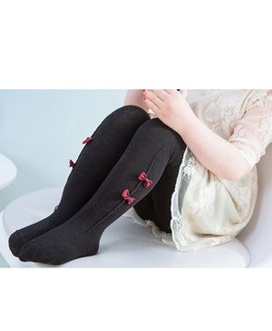 Flaunt Chic Bow Decorated Footed Stockings - Black