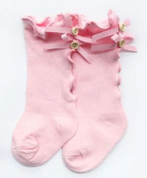 Flaunt Chic Ribbon Decorated Socks - Pink
