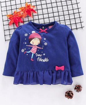 Babyhug Full Sleeves Top Doll Print - Blue