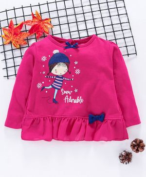 Babyhug Full Sleeves Top Doll Print - Fuchsia